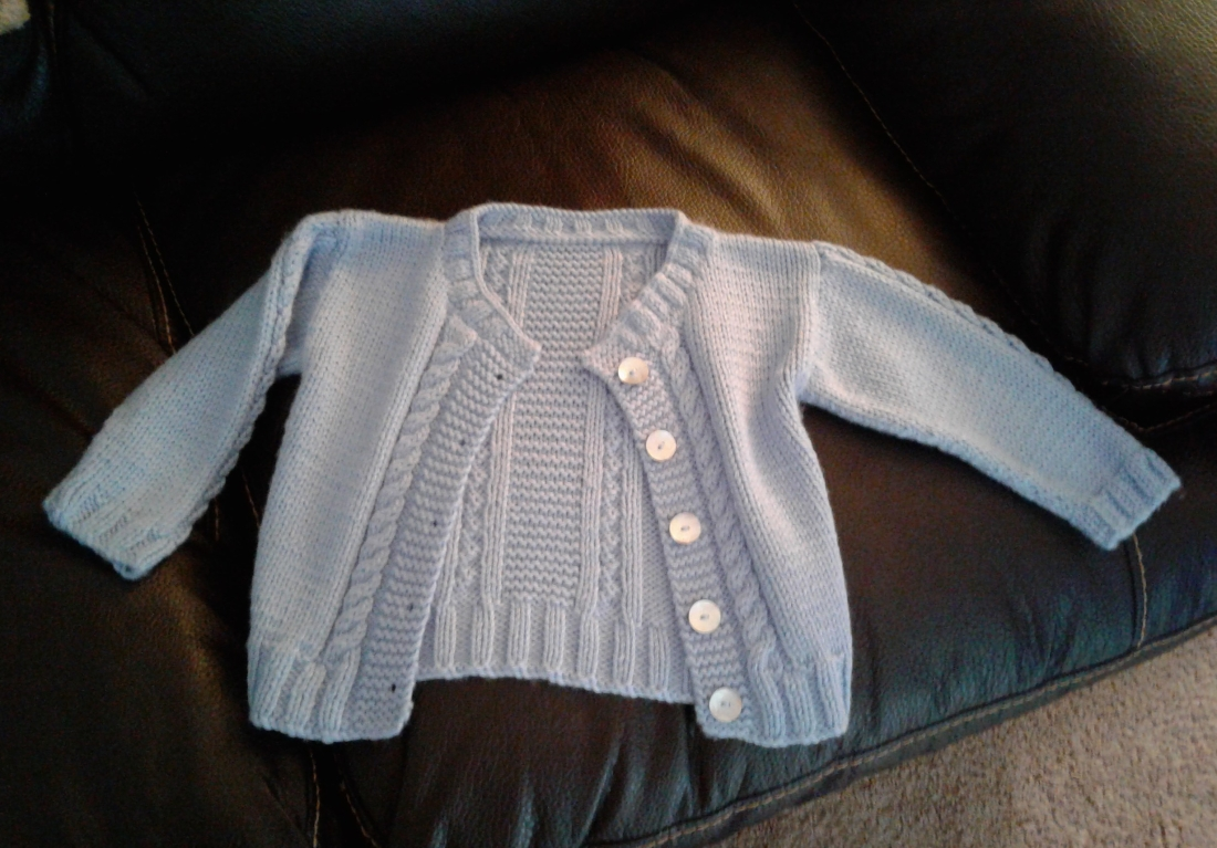 Baby blue cabled cardigan