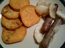 Easy Fall harvest dinner, gluten free, sweet potatoes, sausage, apples