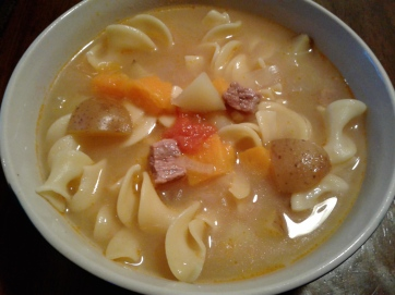 Beef soup with sweet potatoes, redskin potatoes, ginger, nutmeg, and egg noodles