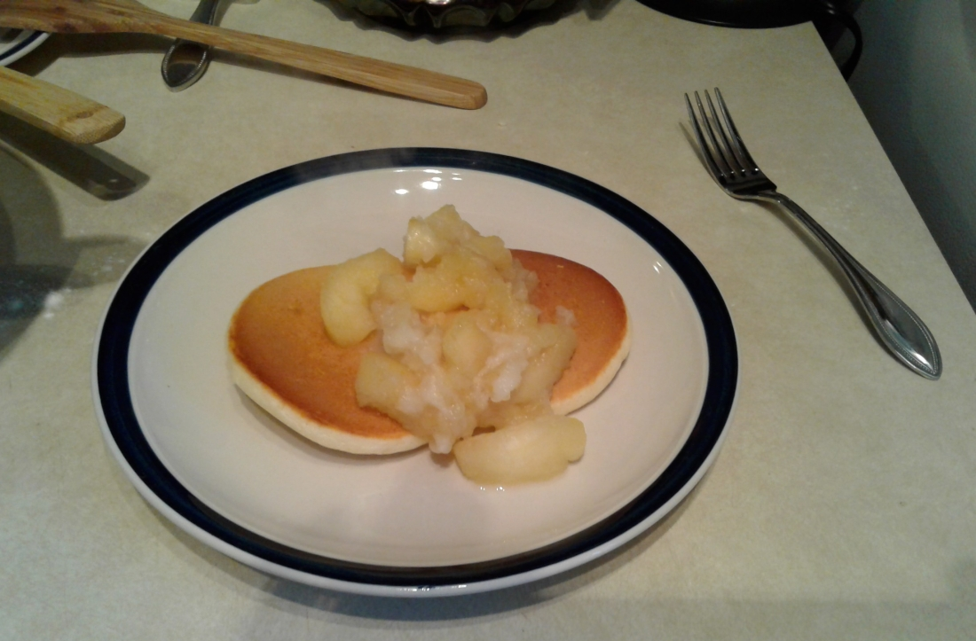 Fluffy pancakes with apple compote.