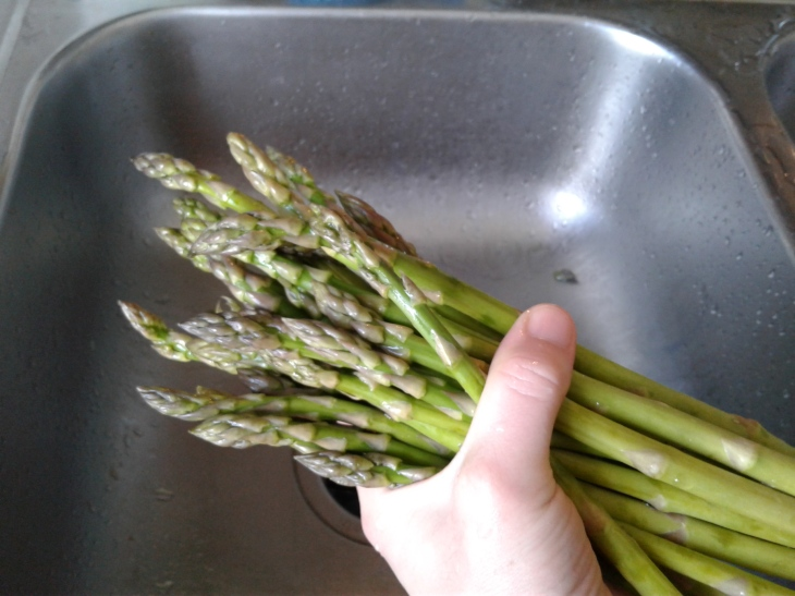 A handful of fresh asparagus