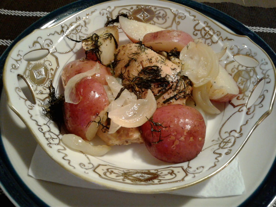 Baked chicken, potatoes and fresh dill