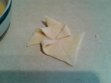 Puff pastry in the process of being shaped