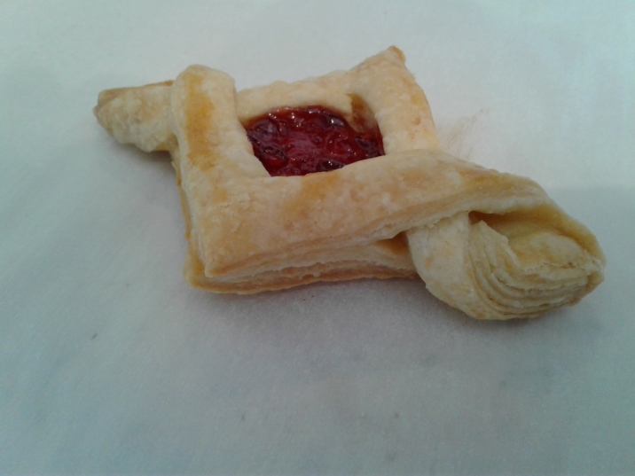 Rough puff pastry with raspberry jam