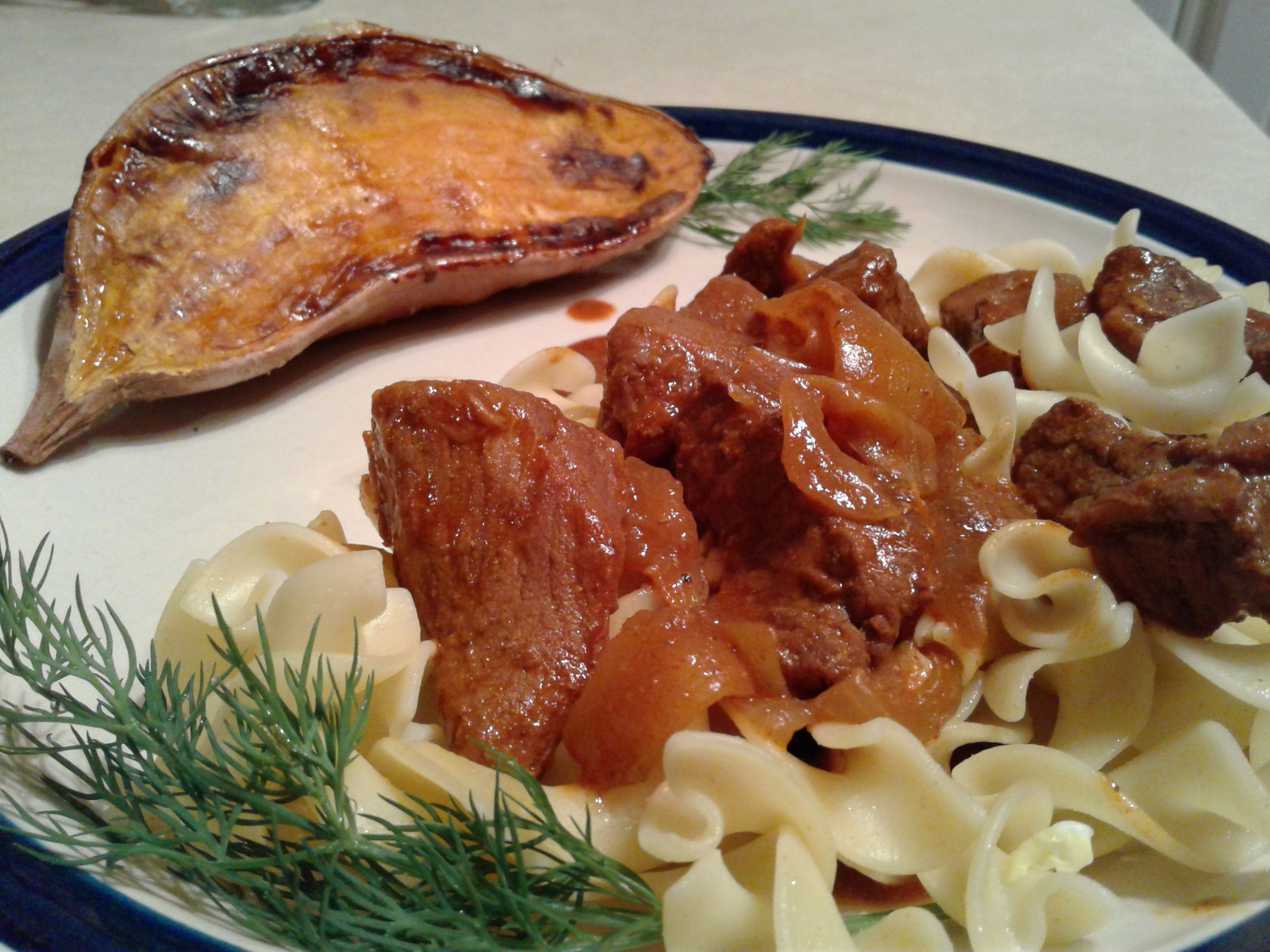 Hungarian beef, egg noodles, roasted sweet potato