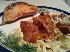 Hungarian beef, egg noodles, roasted sweet potato