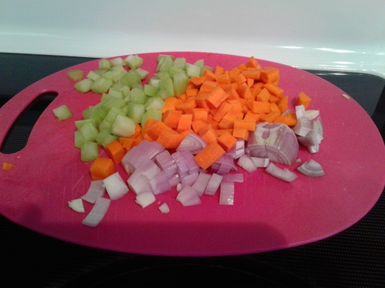 Beautiful colorful diced vegetables