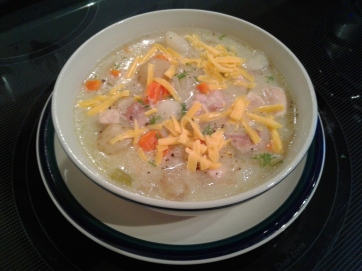 Chicken soup with fennel seed, potatoes, onion, shallots, carrots and celery