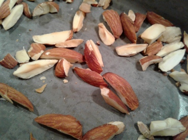 Toasted almonds on a tray