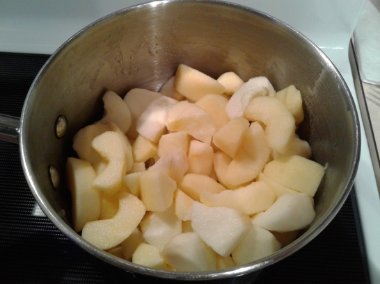 Apple slices in a pot on the stove