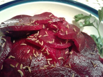 Slovenian beet salad with caraway seeds