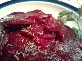 Slovenian beet salad with caraway seeds