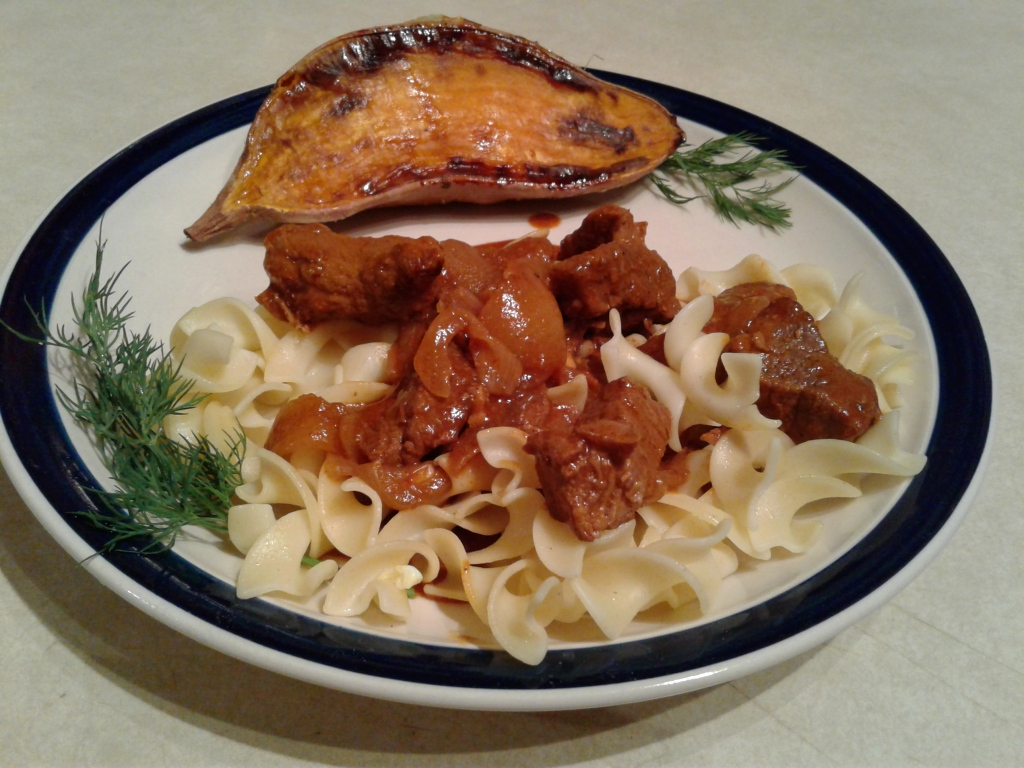 Hungarian beef and egg noodles with roasted sweet potato
