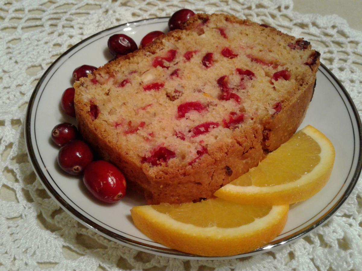 Cranberry orange sweet bread with almonds
