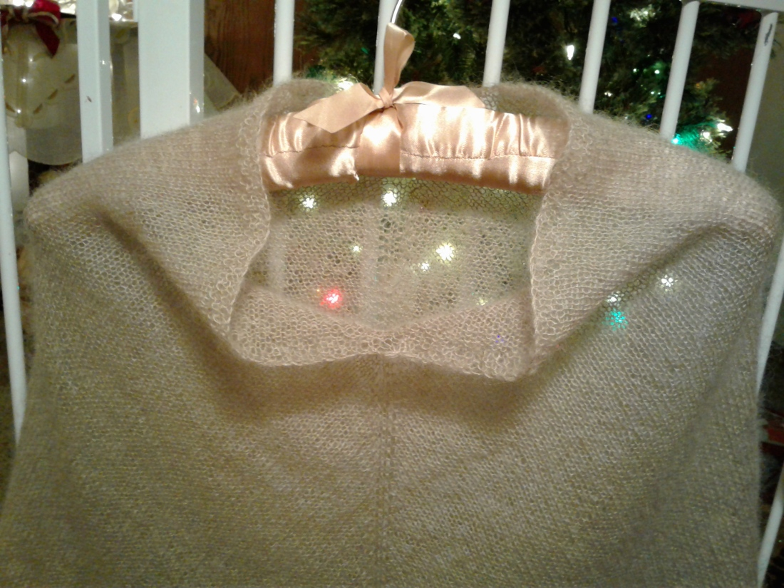 Light and airy mohair silk hand knit poncho