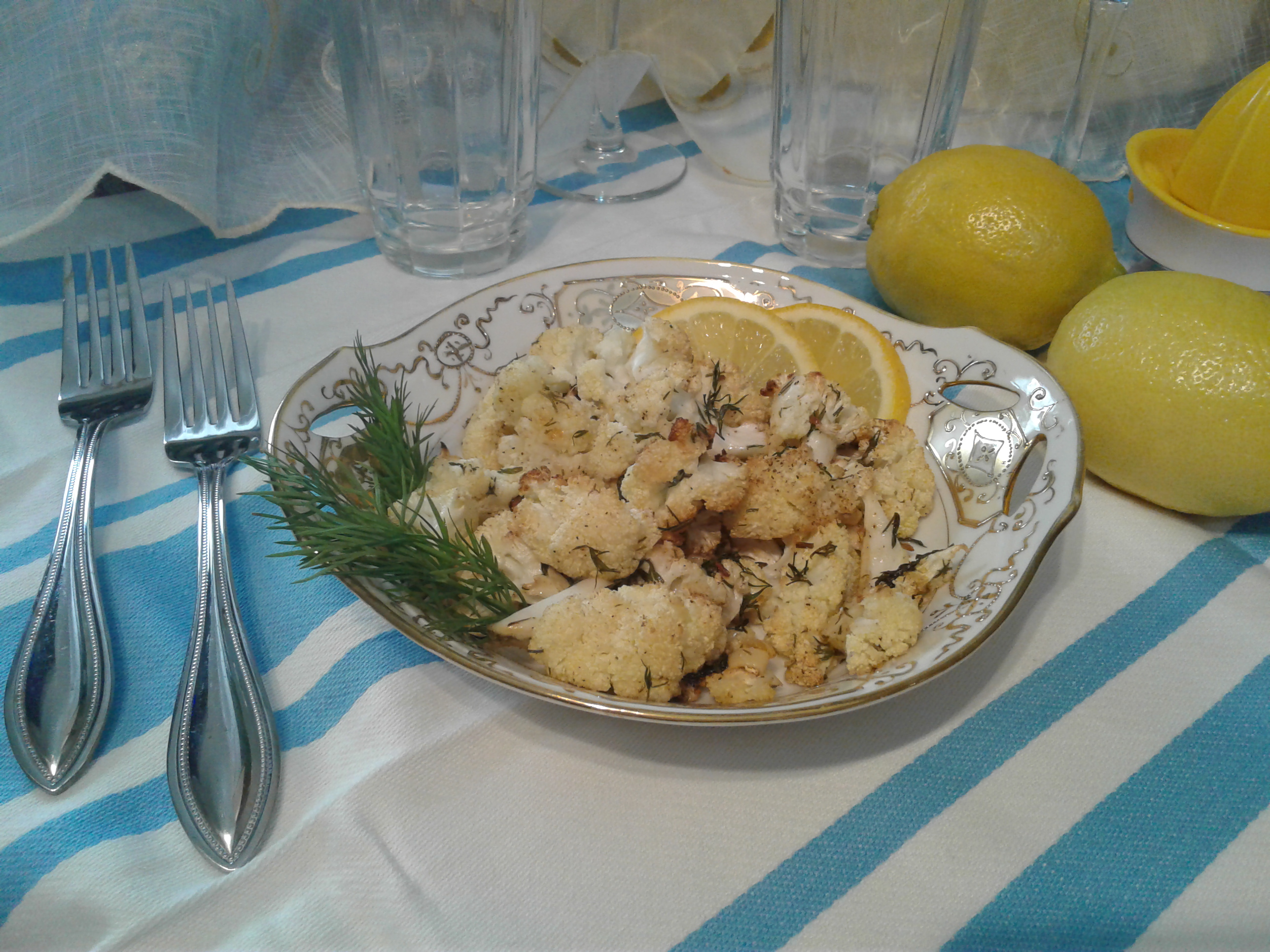 Roasted cauliflower with lemon, garlic, and dill