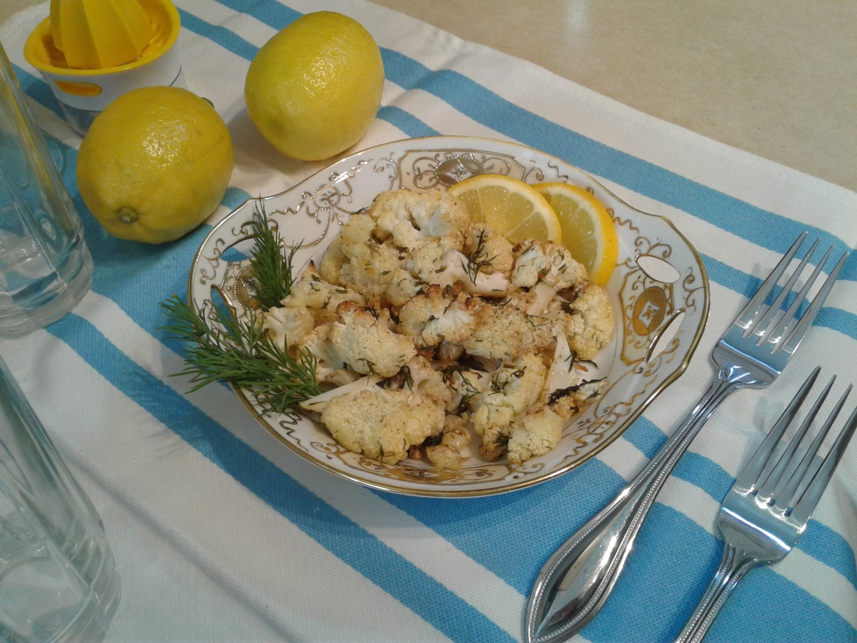 Roasted cauliflower with lemon, garlic, and fresh dill