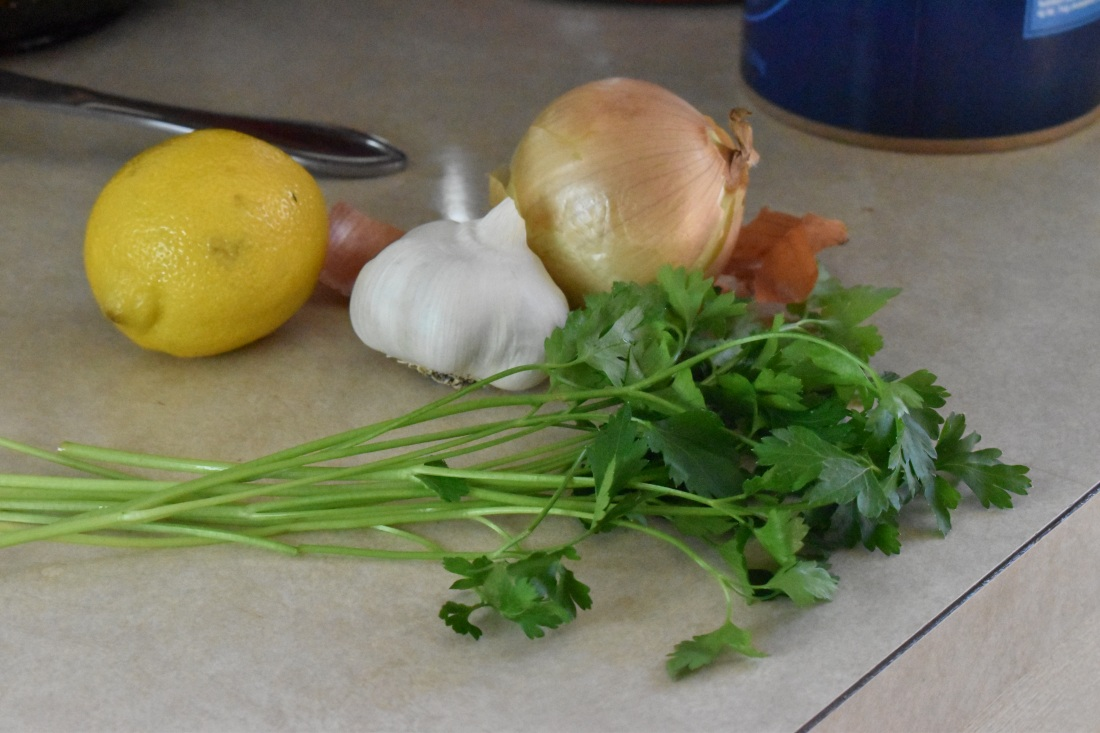 Fresh lemon, parsely, onion and garlic