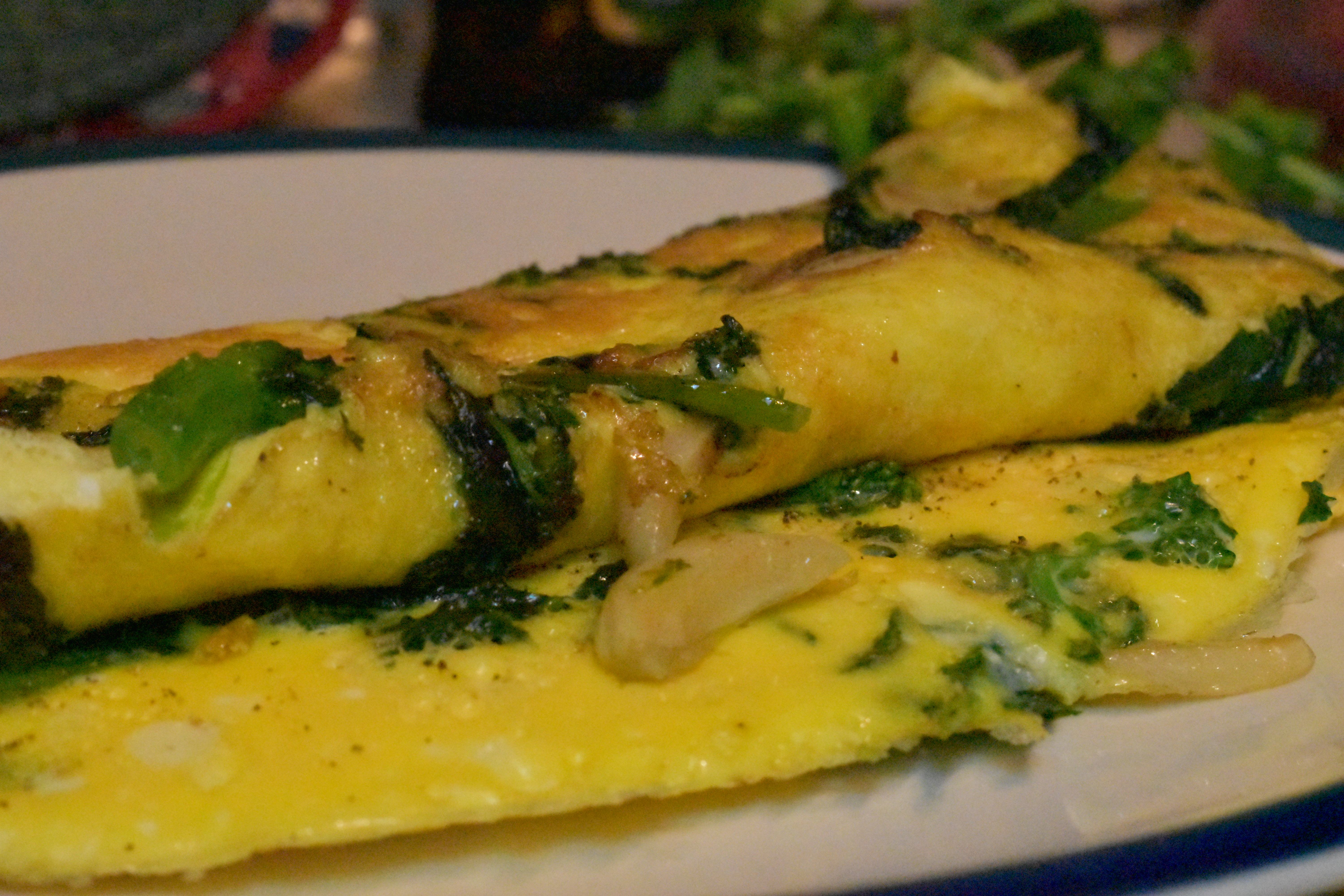 Broccoli rabe frittata with garlic butter