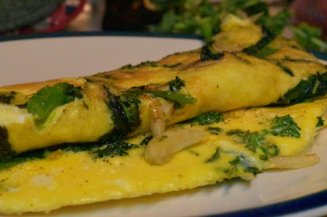 Broccoli rabe frittata with garlic butter