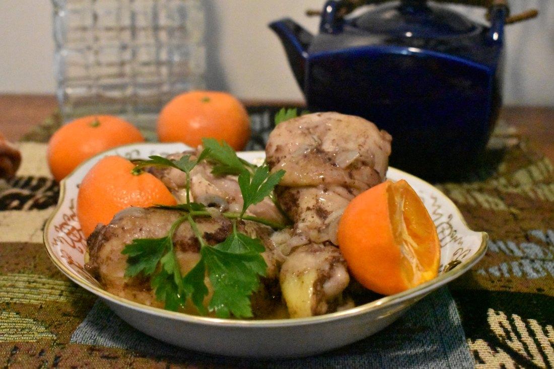 Chicken drumsticks with warm spice, mandarin orange sauce